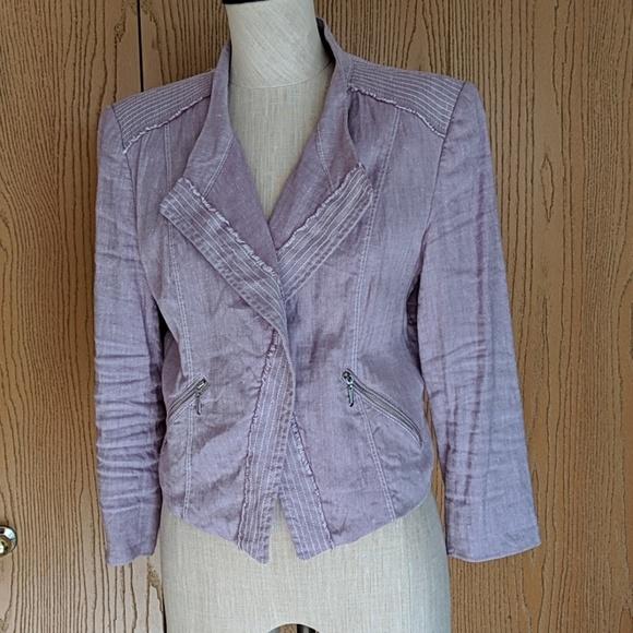 White House Black Market Jackets & Blazers - WHBM Lavender Linen Blazer